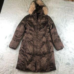 Bernardo Goose Down Parka Jacket Fur Wool Hood M